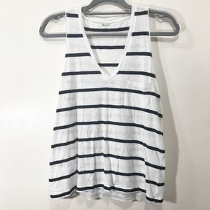 Madewell V-Neck Striped Tank Top with Front Pocket